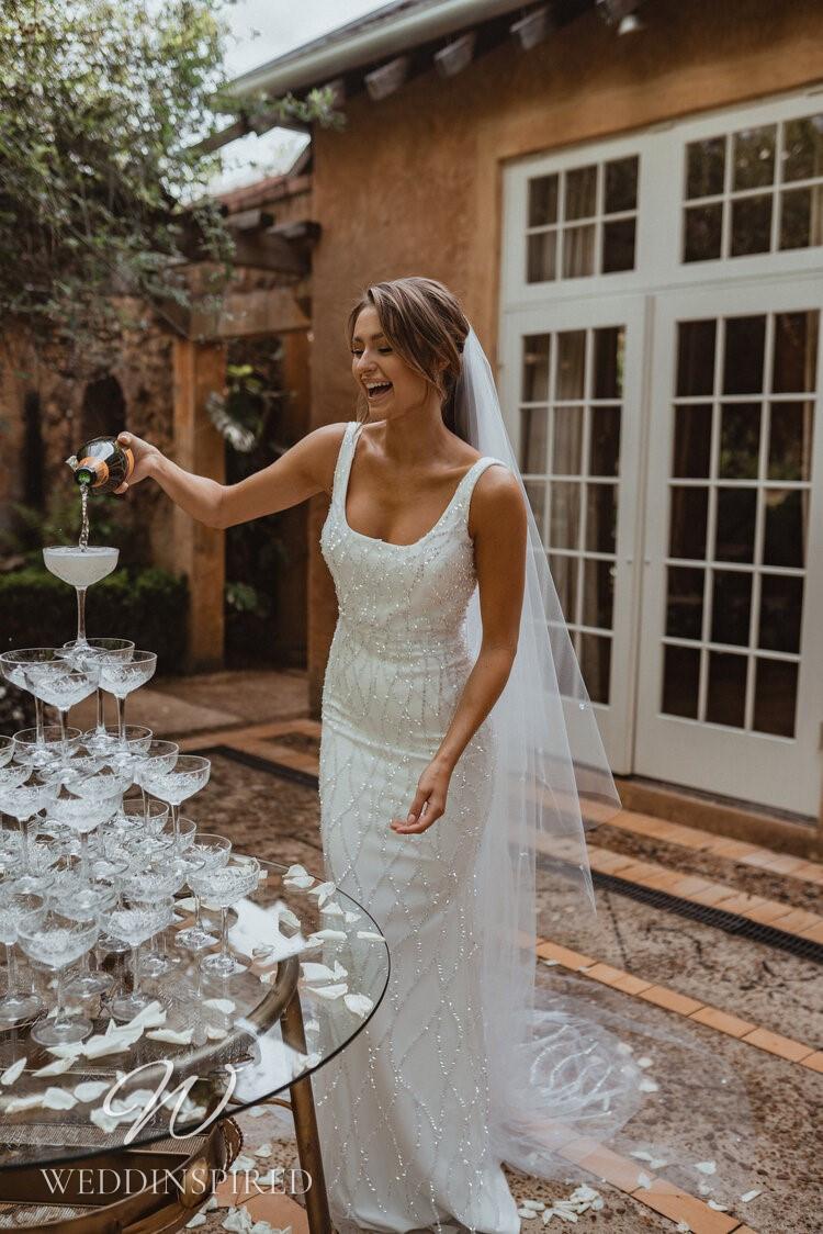 An Anna Campbell 2021 sparkly tulle mermaid wedding dress