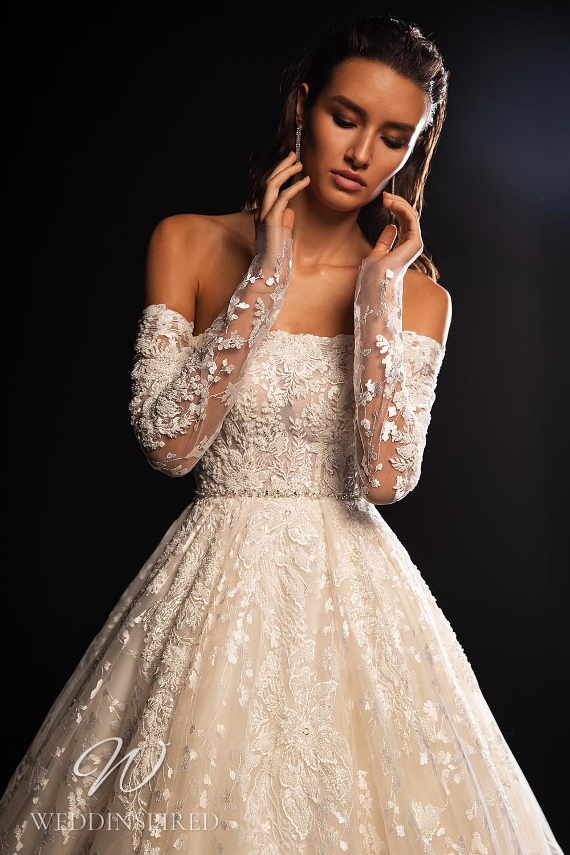 A WONÁ Concept 2021 off the shoulder lace A-line wedding dress