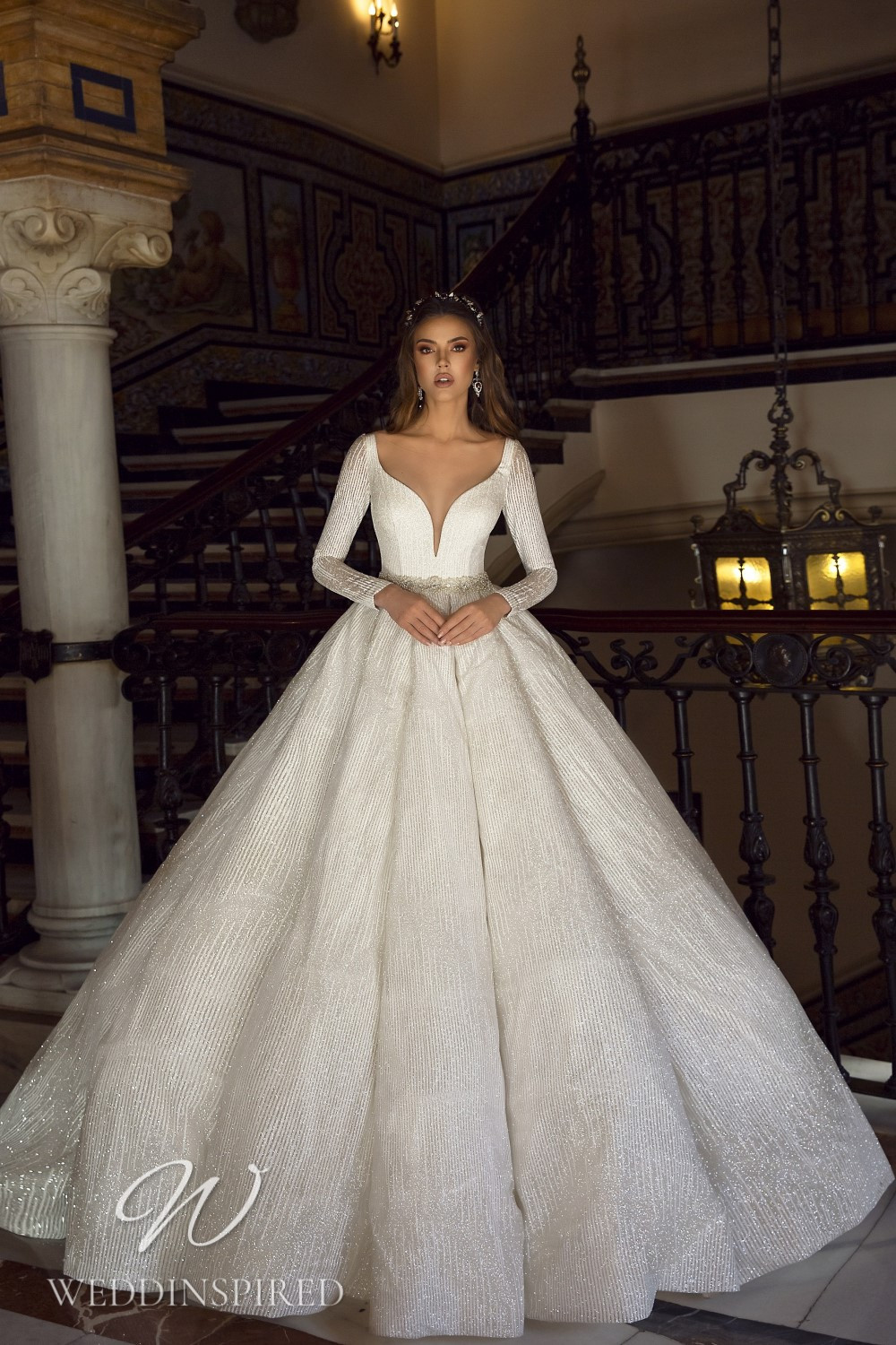 A Maks Mariano sparkly princess wedding dress with long sleeves