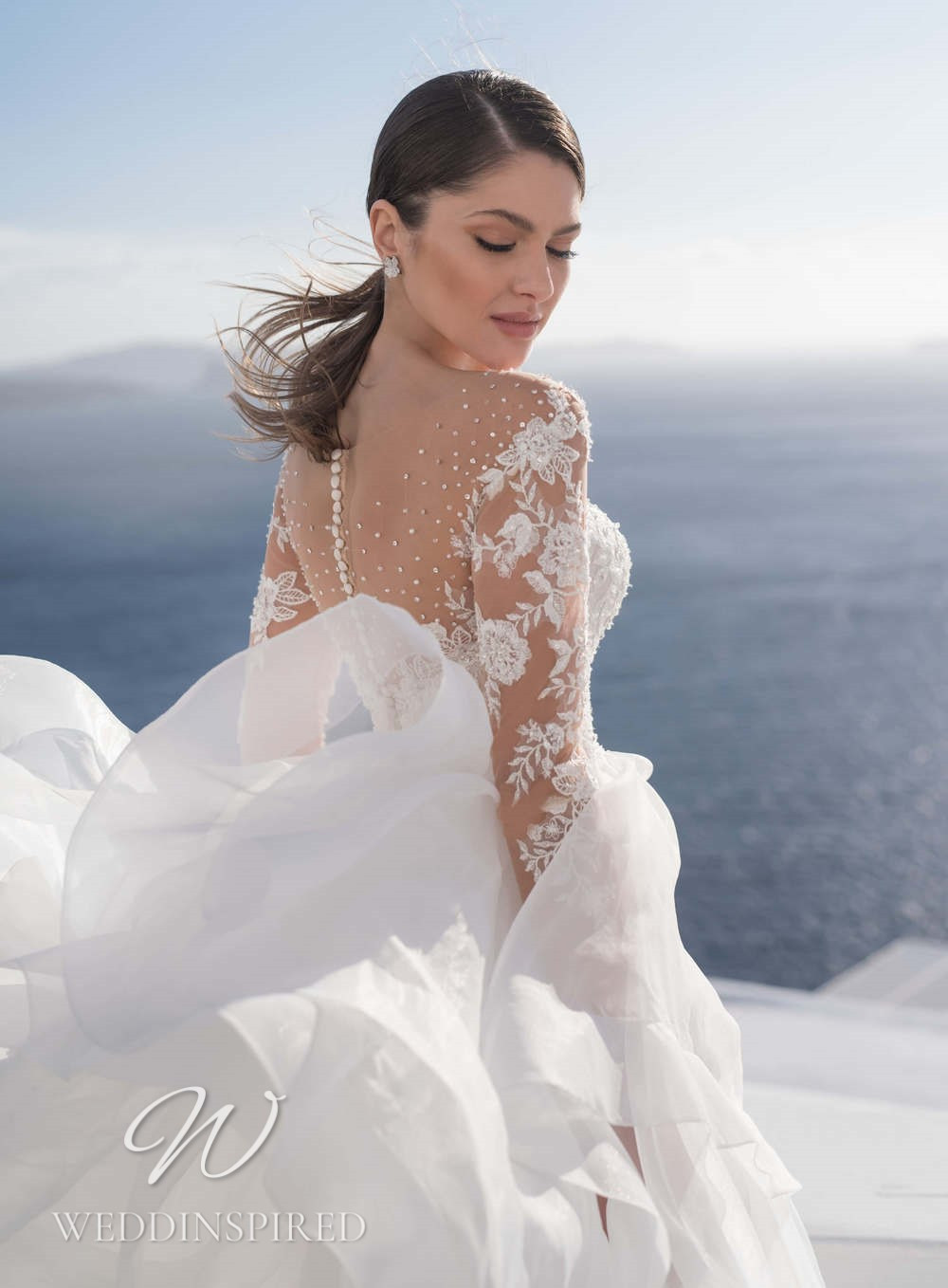 A Blunny 2021 lace and tulle A-line wedding dress