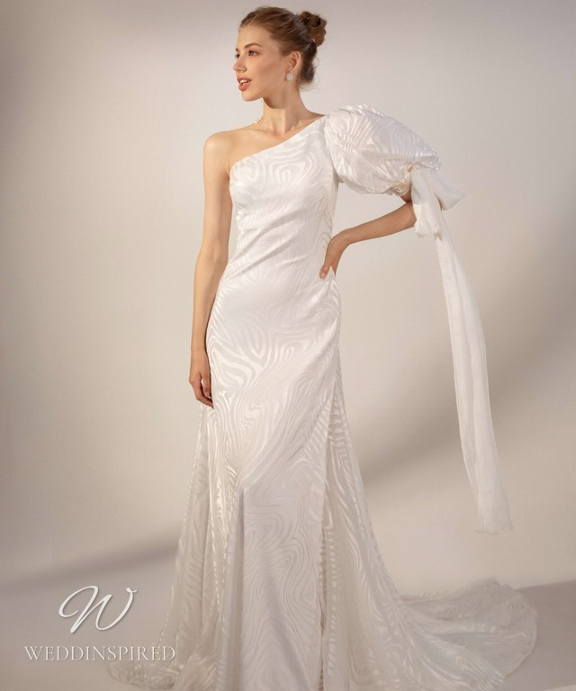 A Rara Avis 2021 one shoulder silk mermaid wedding dress with balloon sleeves