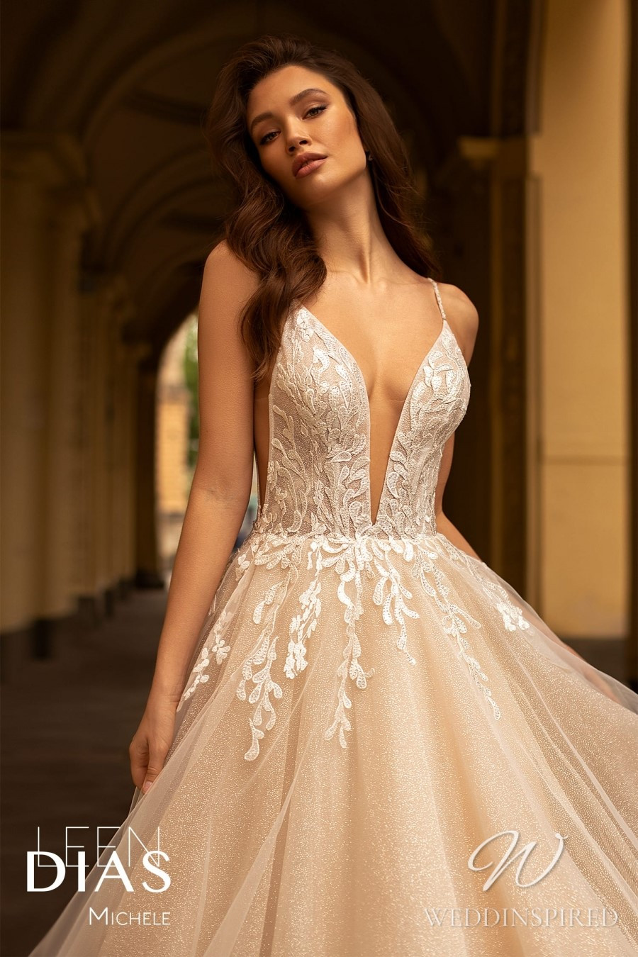 A Leen Dias 2021 blush lace and tulle A-line wedding dress