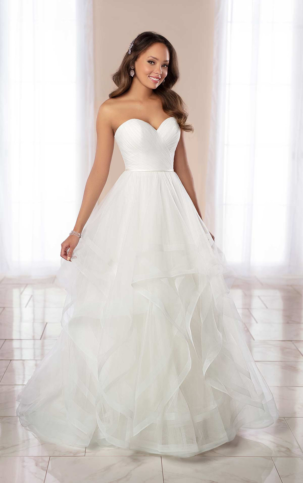 A Stella York 2020 strapless tulle ball gown wedding dress with a sweetheart neckline