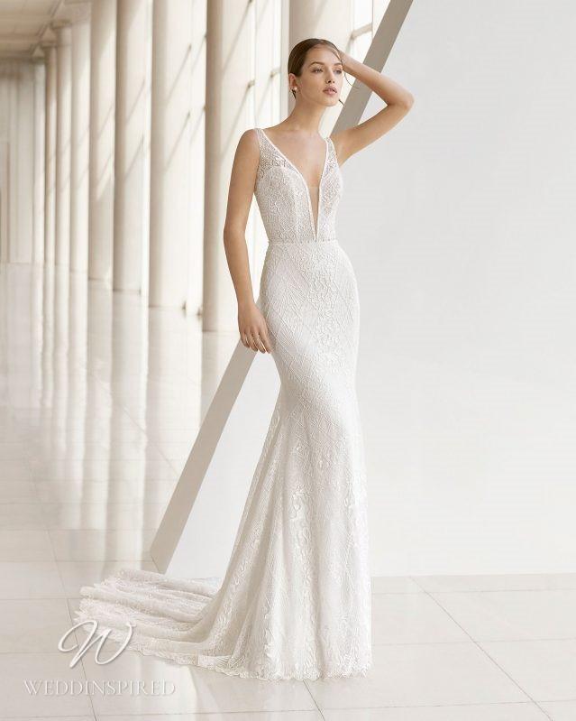 A Rosa Clara 2021 lace mermaid wedding dress with a v neck