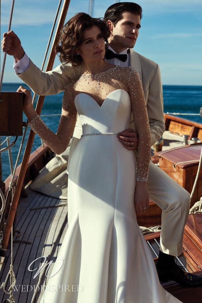 A Justin Alexander 2021 satin mermaid wedding dress