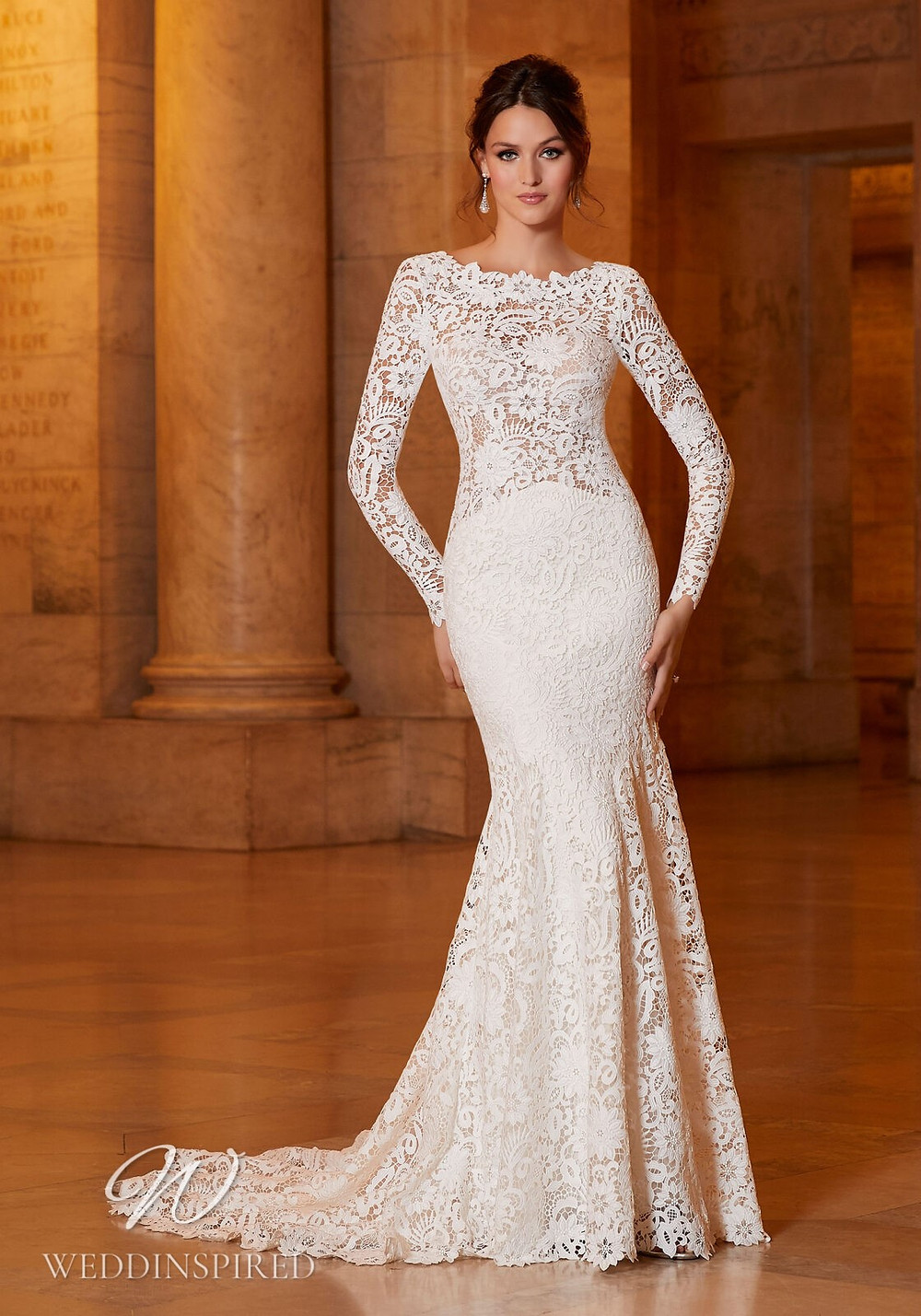 A Madeline Gardner lace mermaid wedding dress with long sleeves