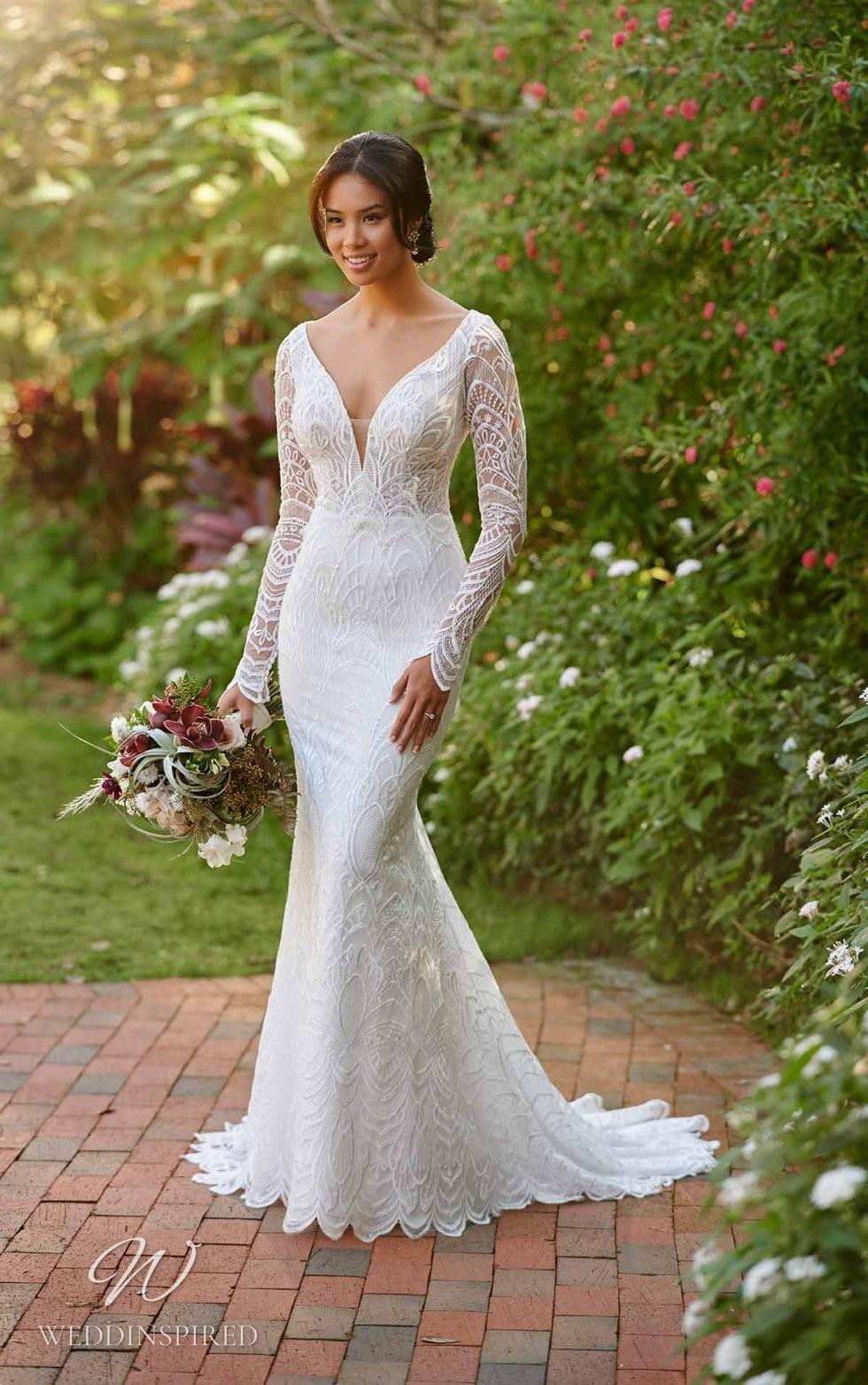 An Essense of Australia lace mermaid wedding dress with long sleeves