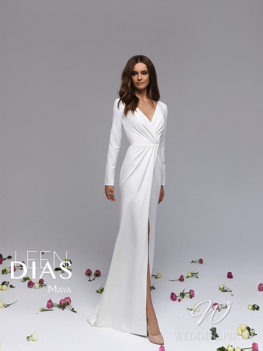 A Leen Dias 2021 simple satin sheath wedding dress with long sleeves and a v neck