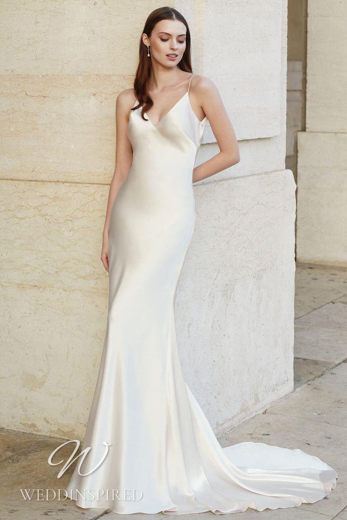A Justin Alexander 2021 satin slip mermaid wedding dress with a v neck