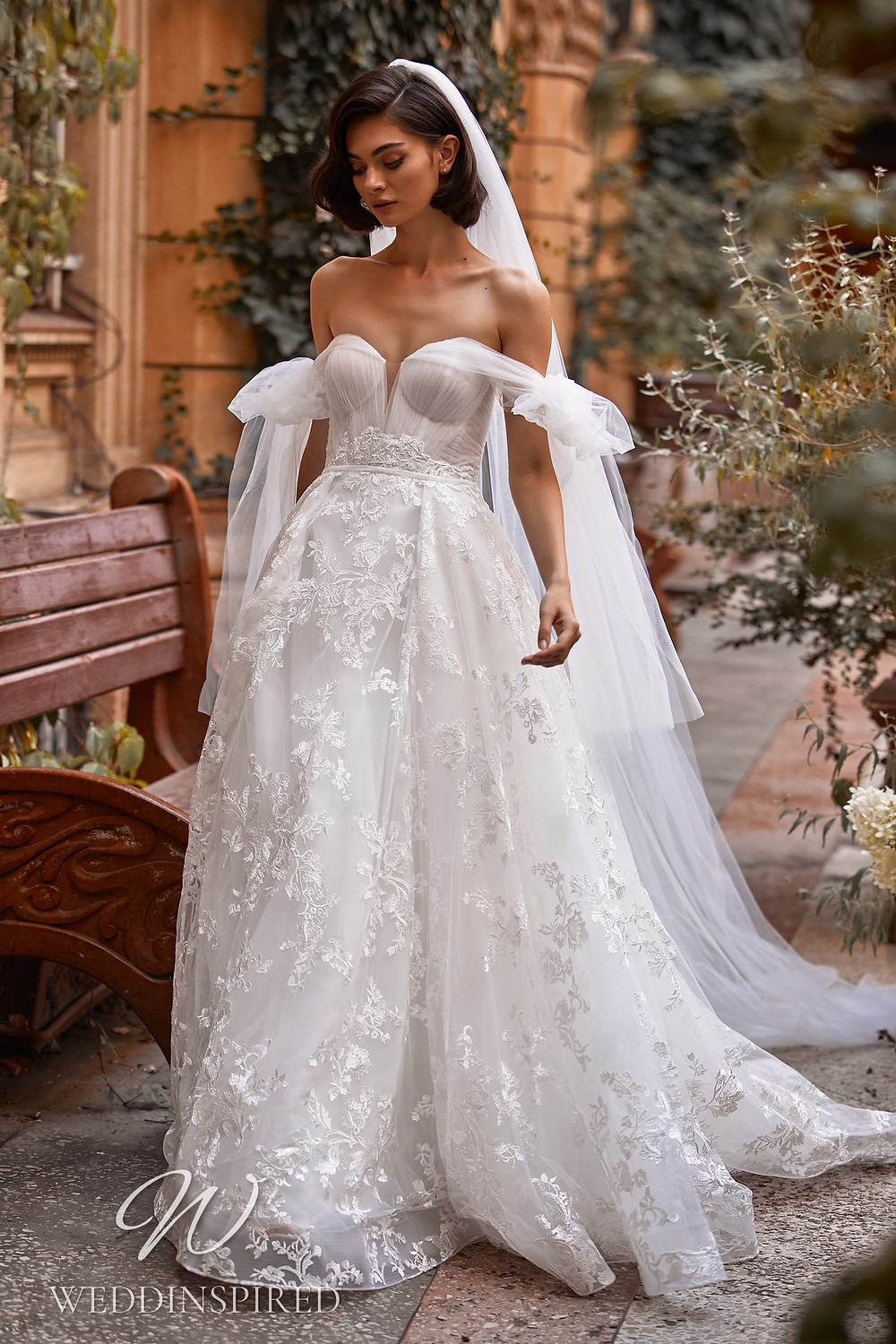 A Daria Karlozi 2021 strapless lace and tulle boho A-line wedding dress