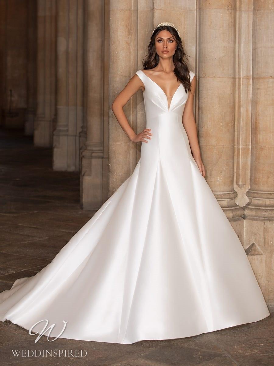 A Pronovias 2021 simple satin off the shoulder A-line wedding dress