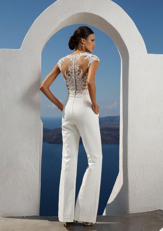 A Justin Alexander lace and linen wedding jumpsuit or pantsuit