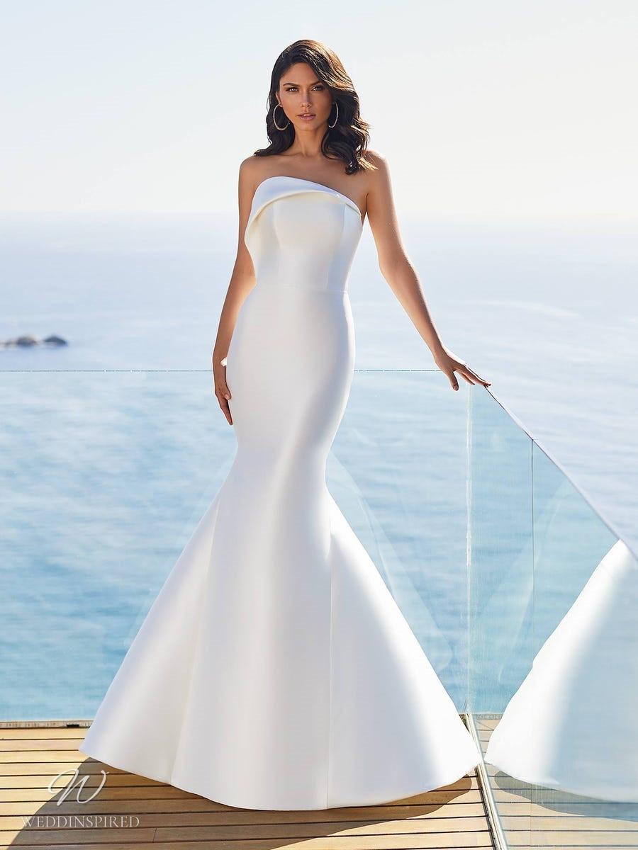 A Pronovias 2021 simple strapless silk mermaid wedding dress