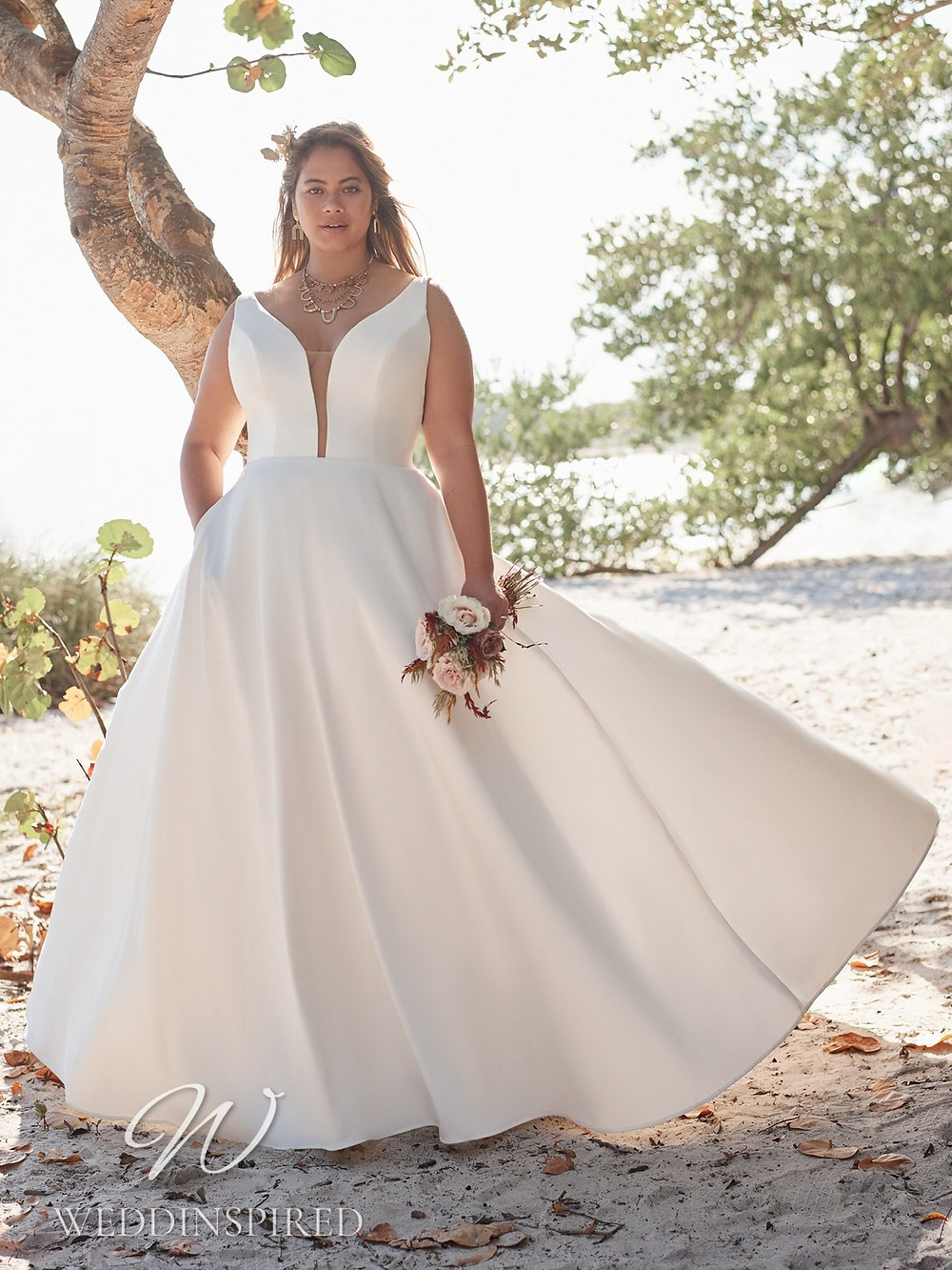 A Rebecca Ingram 2021 plus size simple satin A-line wedding dress