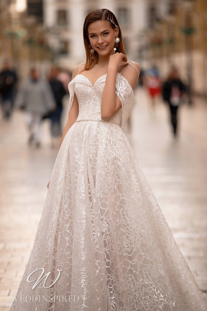A Nora Naviano 2021 lace off the shoulder A-line wedding dress