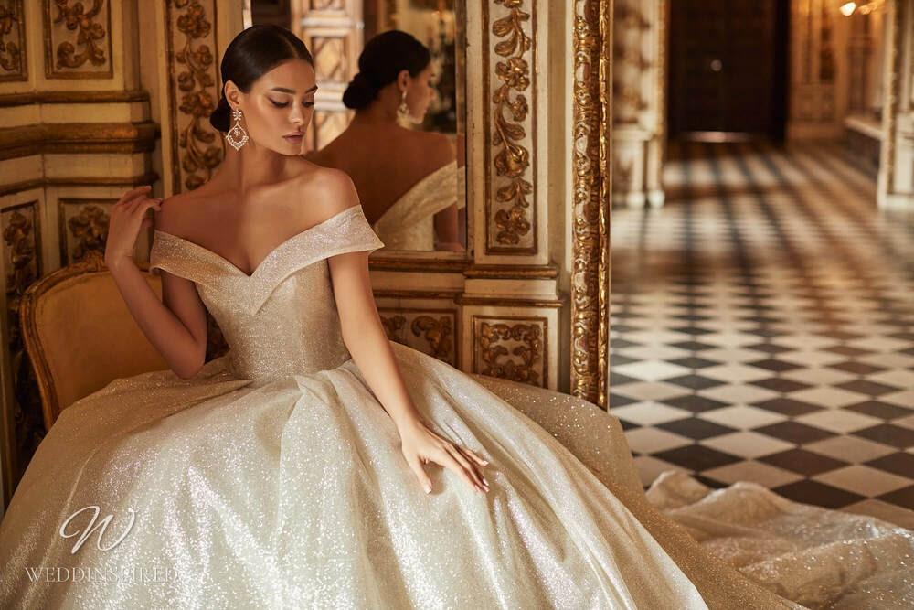 A Royal by Naviblue 2021 champagne off the shoulder princess wedding dress