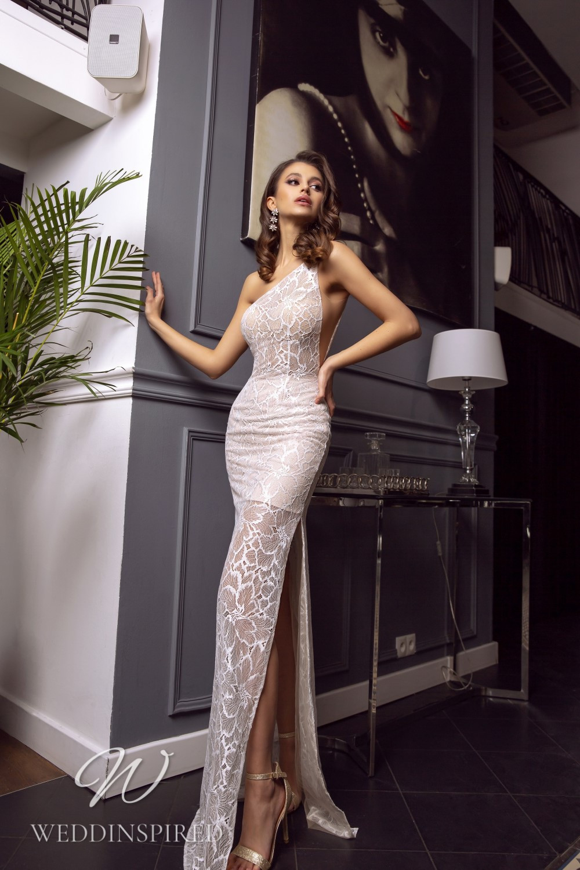 A Tina Valerdi one shoulder lace mermaid wedding dress