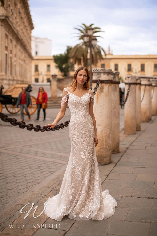 A Nora Naviano 2021 lace off the shoulder mermaid wedding dress