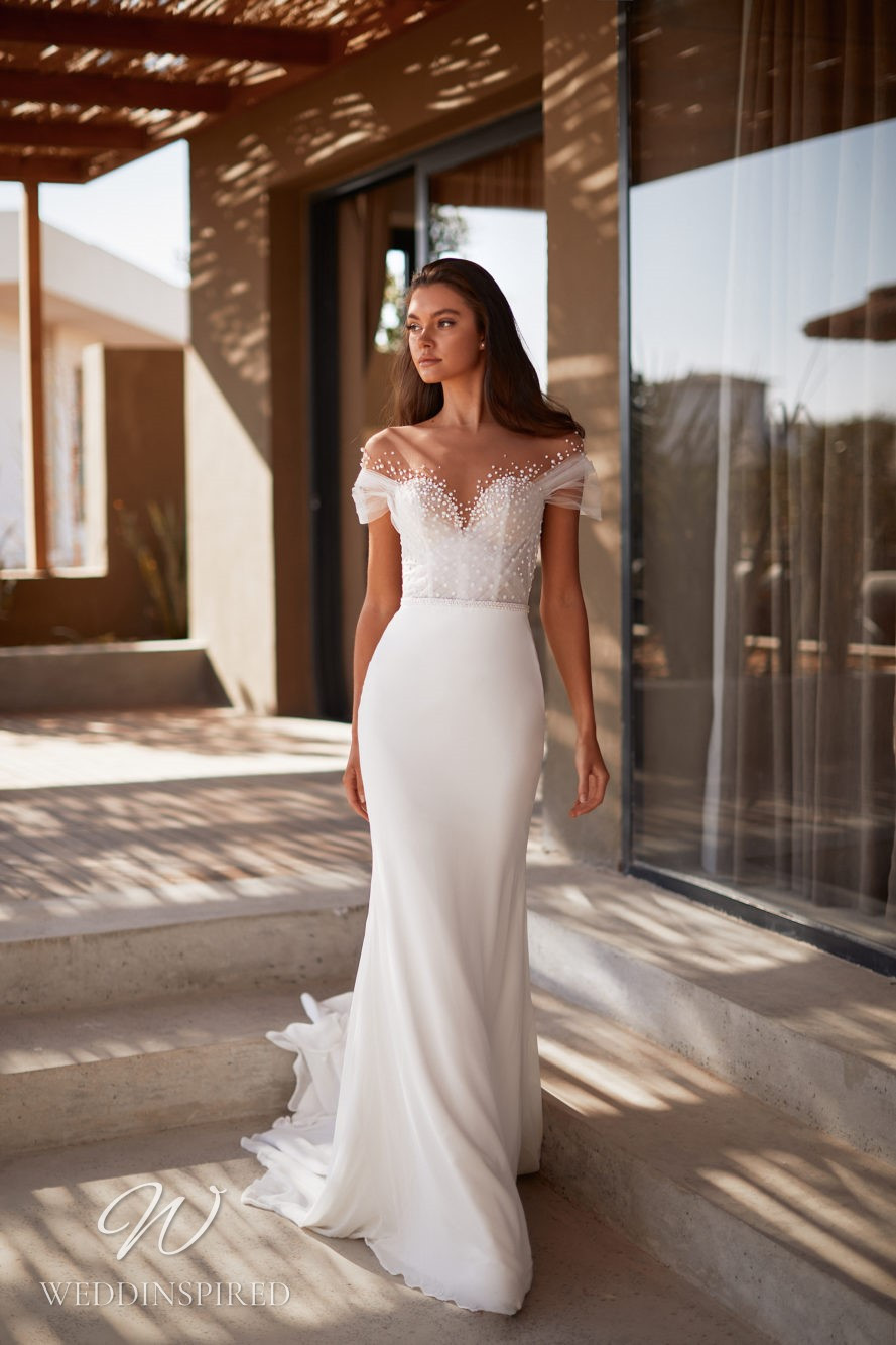A Milla by Lorenzo Rossi 2021/2022 off the shoulder chiffon and tulle mermaid wedding dress with pearl details
