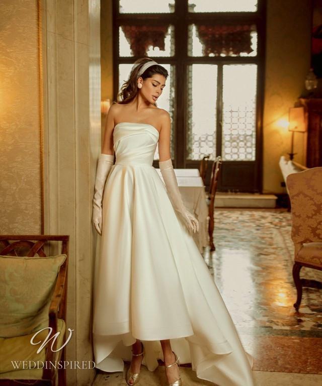 A Rara Avis 2021 simple strapless ivory tea length silk wedding dress
