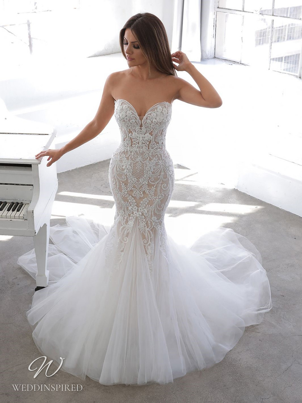 A Blue by Enzoani 2021 strapless lace and tulle mermaid wedding dress