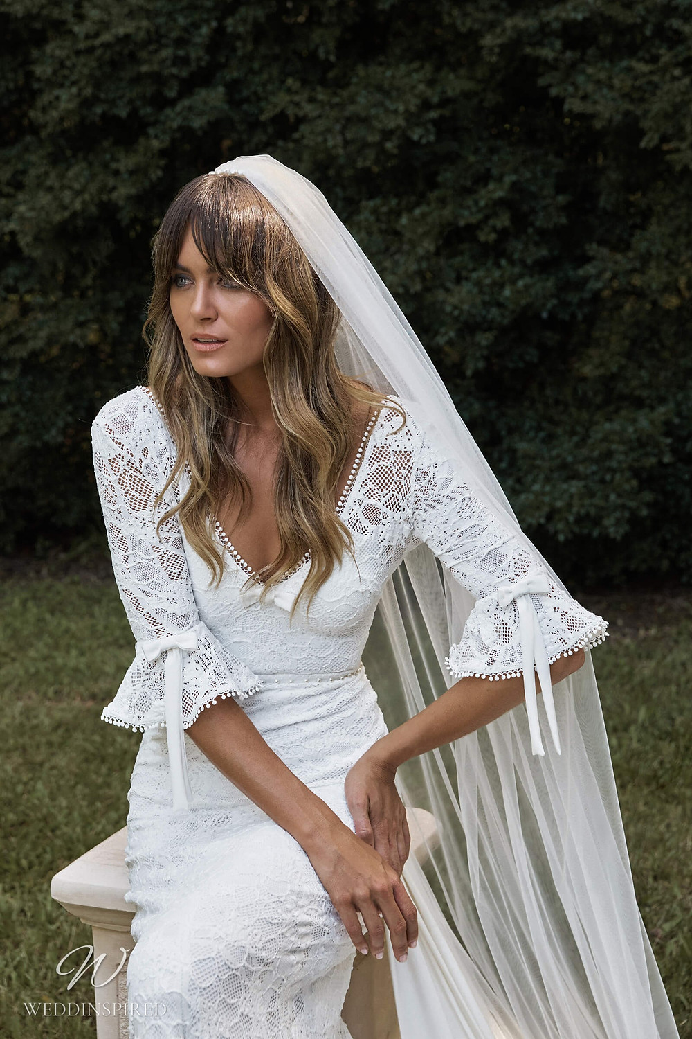A Grace Loves Lace 2021 lace mermaid fit and flare boho wedding dress with bell sleeves