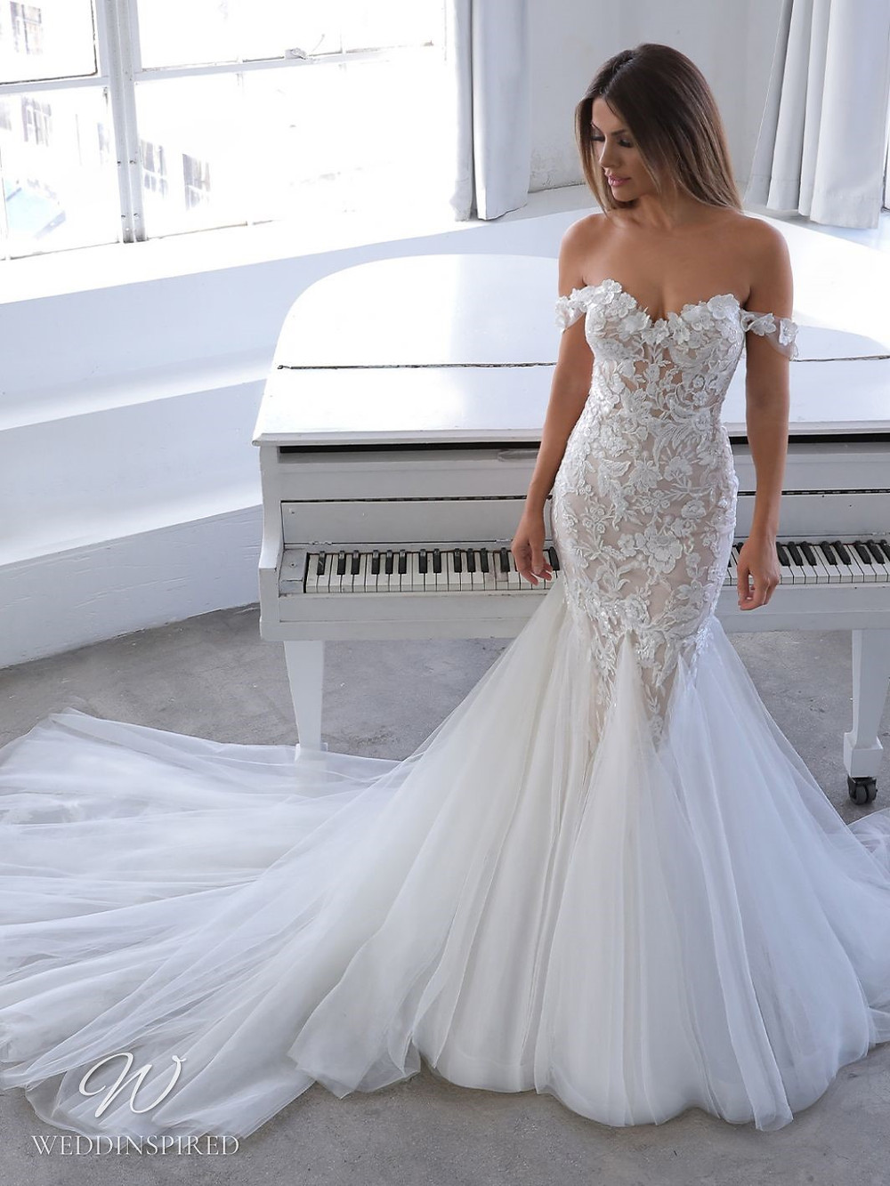 A Blue by Enzoani 2021 off the shoulder lace and tulle mermaid wedding dress