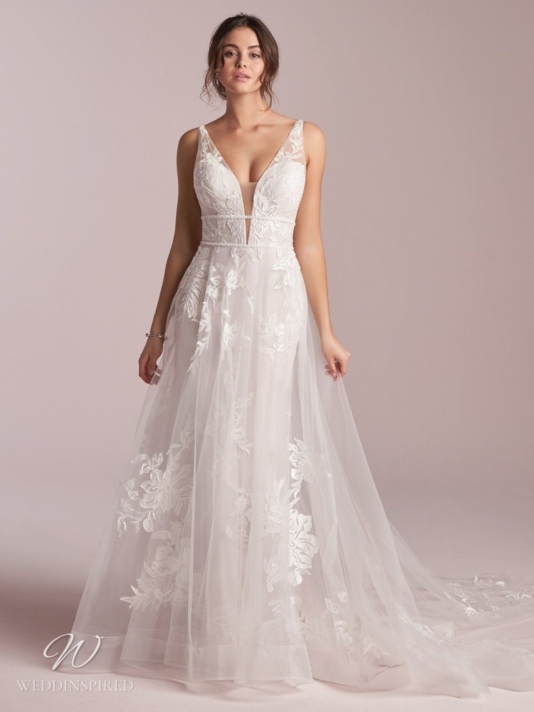 A Rebecca Ingram 2020 lace and tulle A-line wedding dress