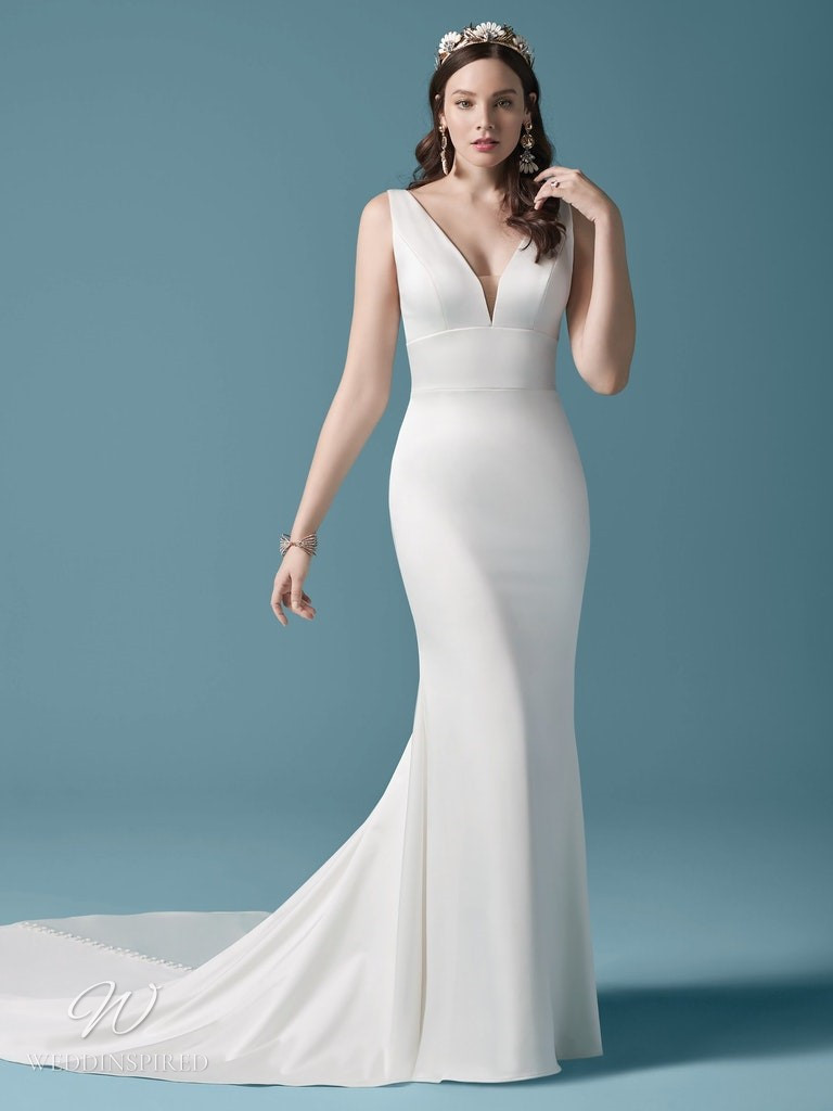 A Maggie Sottero 2021 simple silk satin mermaid wedding dress