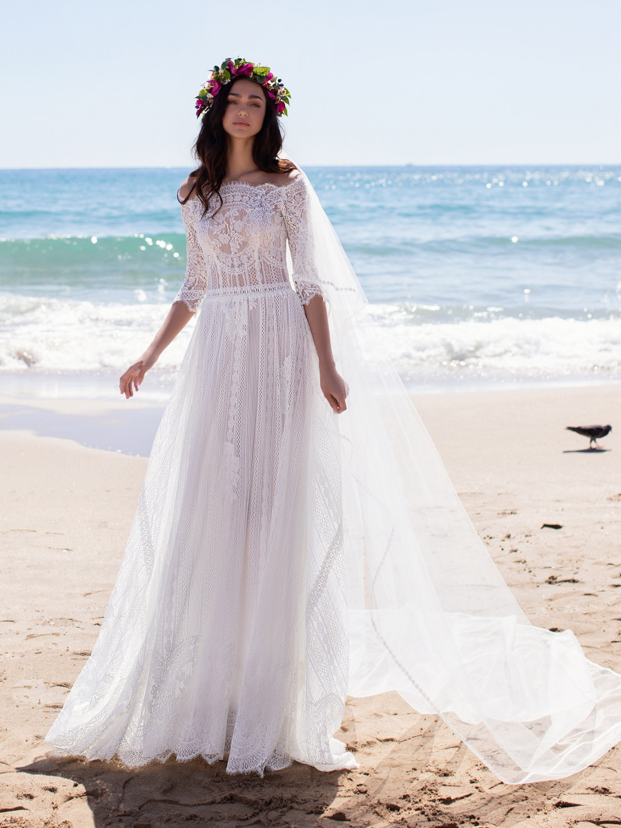 A Pronovias lace, 3/4 sleeve, beach, A-line wedding dress