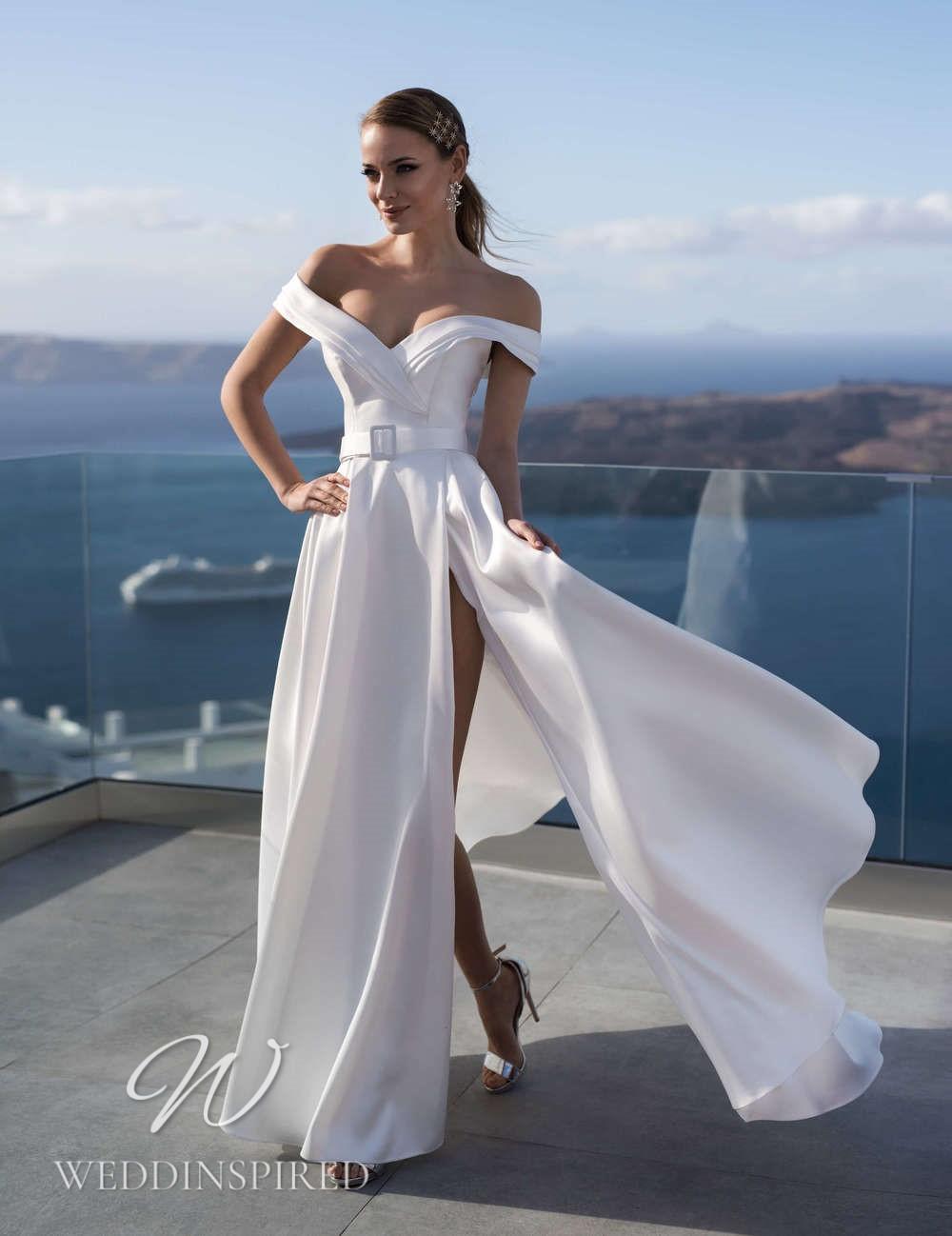 A Blunny 2021 satin off the shoulder flowy A-line wedding dress