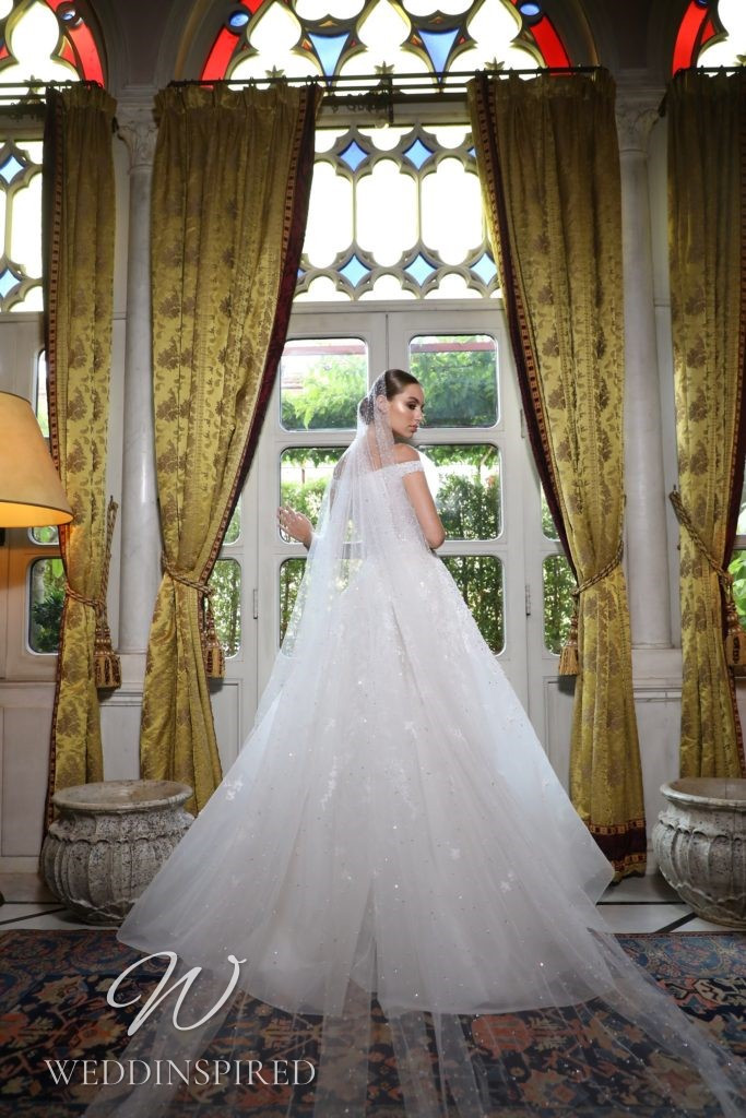 A Georges Hobeika 2021 tulle off the shoulder A-line wedding dress