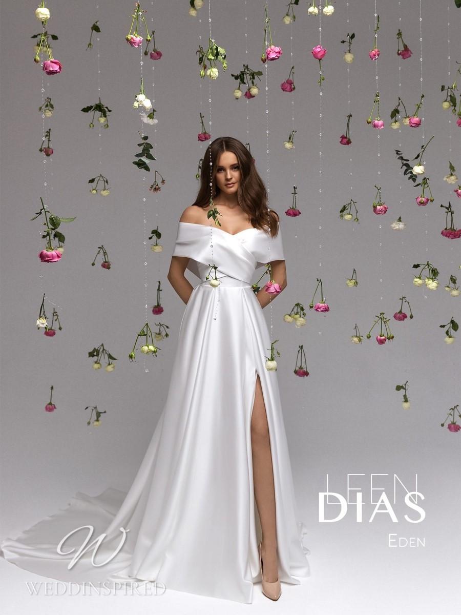 A Leen Dias 2021 off the shoulder simple satin A-line wedding dress