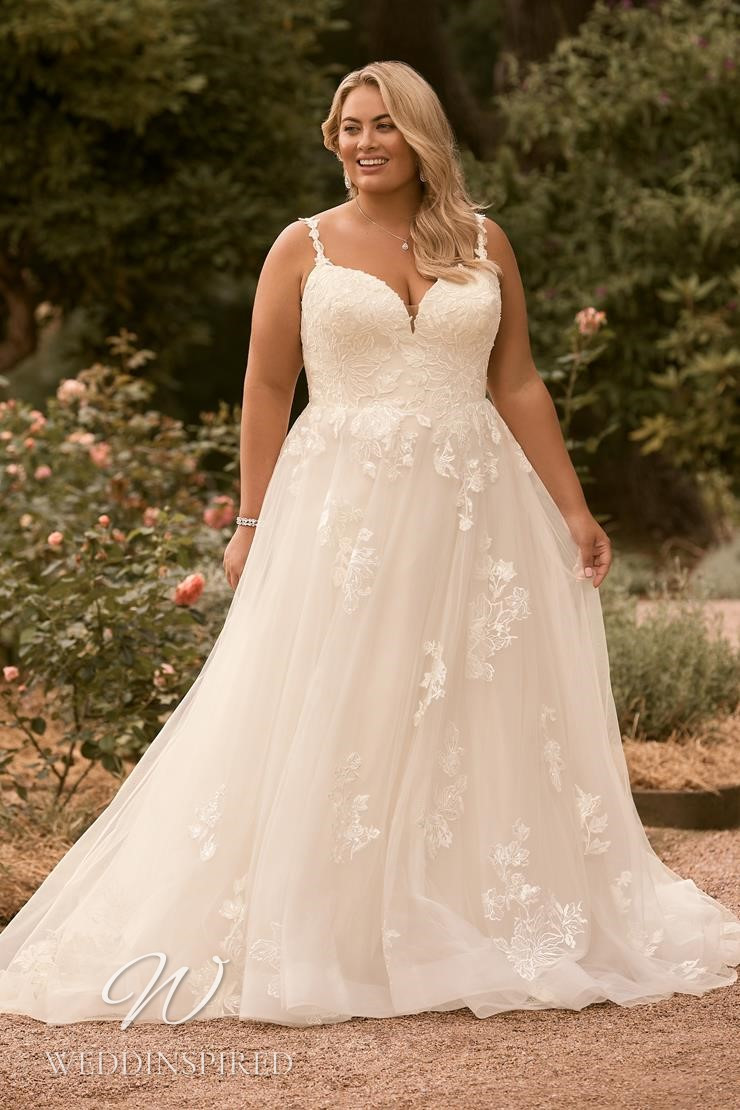 A Sophia Tolli 2021 plus size lace and tulle A-line wedding dress