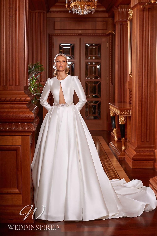 A Pollardi 2021 satin princess wedding dress with long sleeves