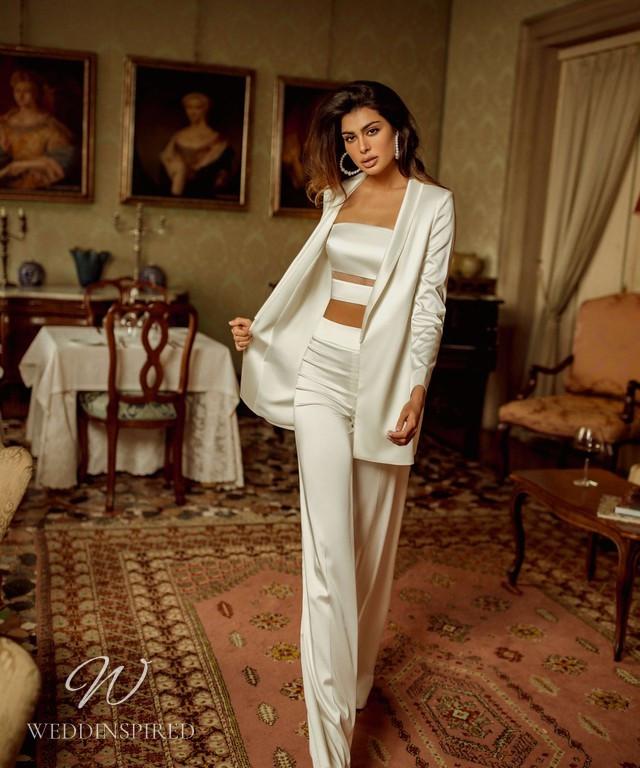 A Rara Avis 2021 2 piece silk wedding pantsuit and blazer