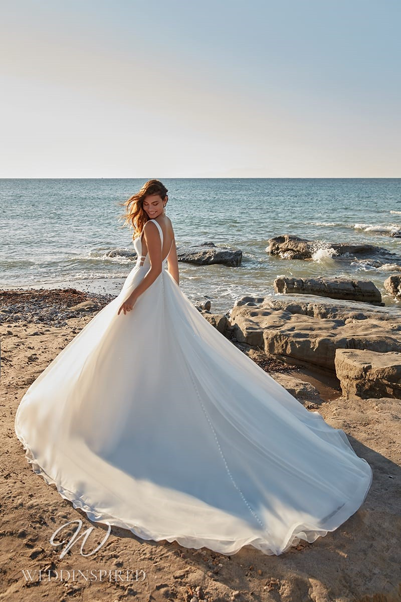 An Eddy K 2022 chiffon princess wedding dress