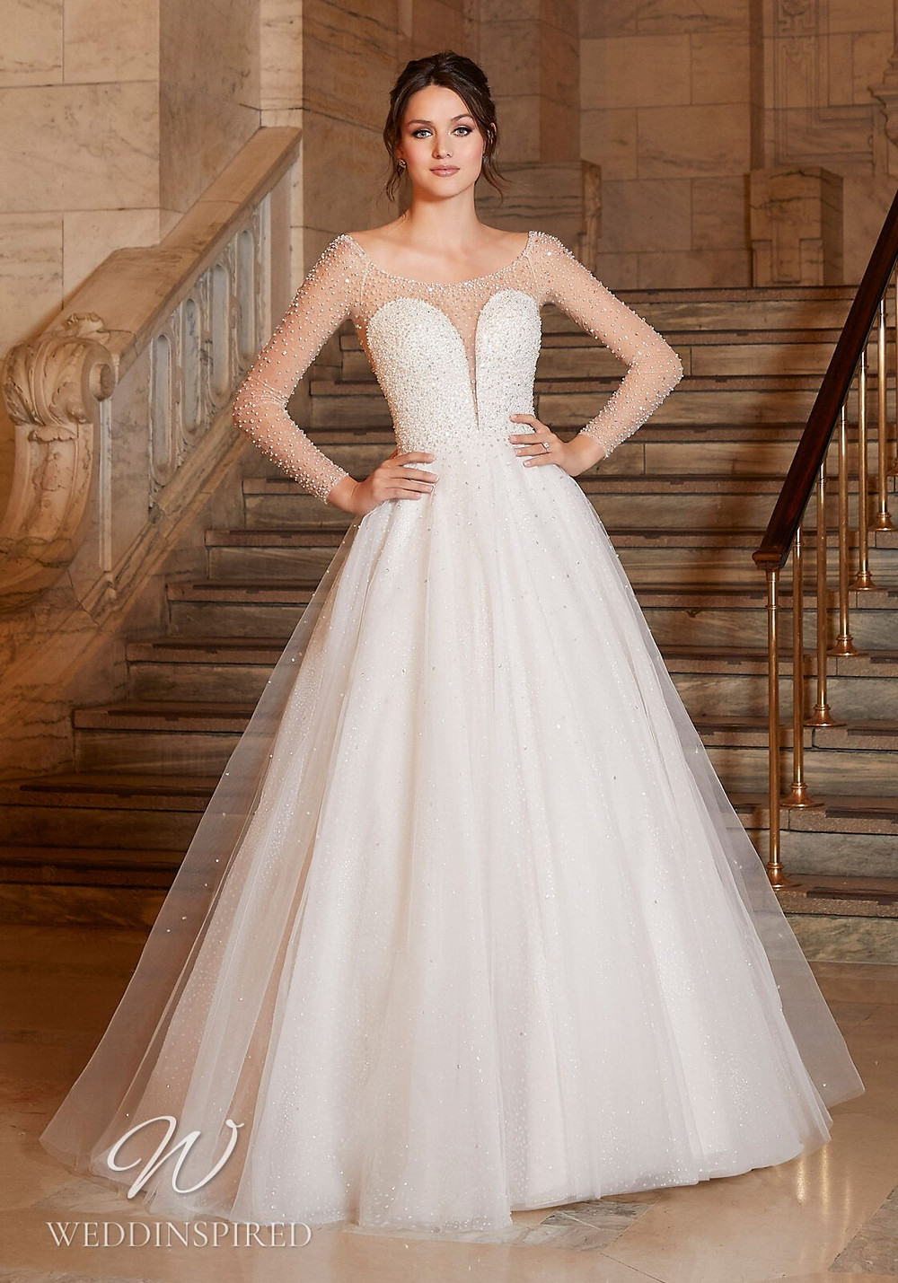 A Madeline Gardner tulle and satin ball gown wedding dress with sparkles