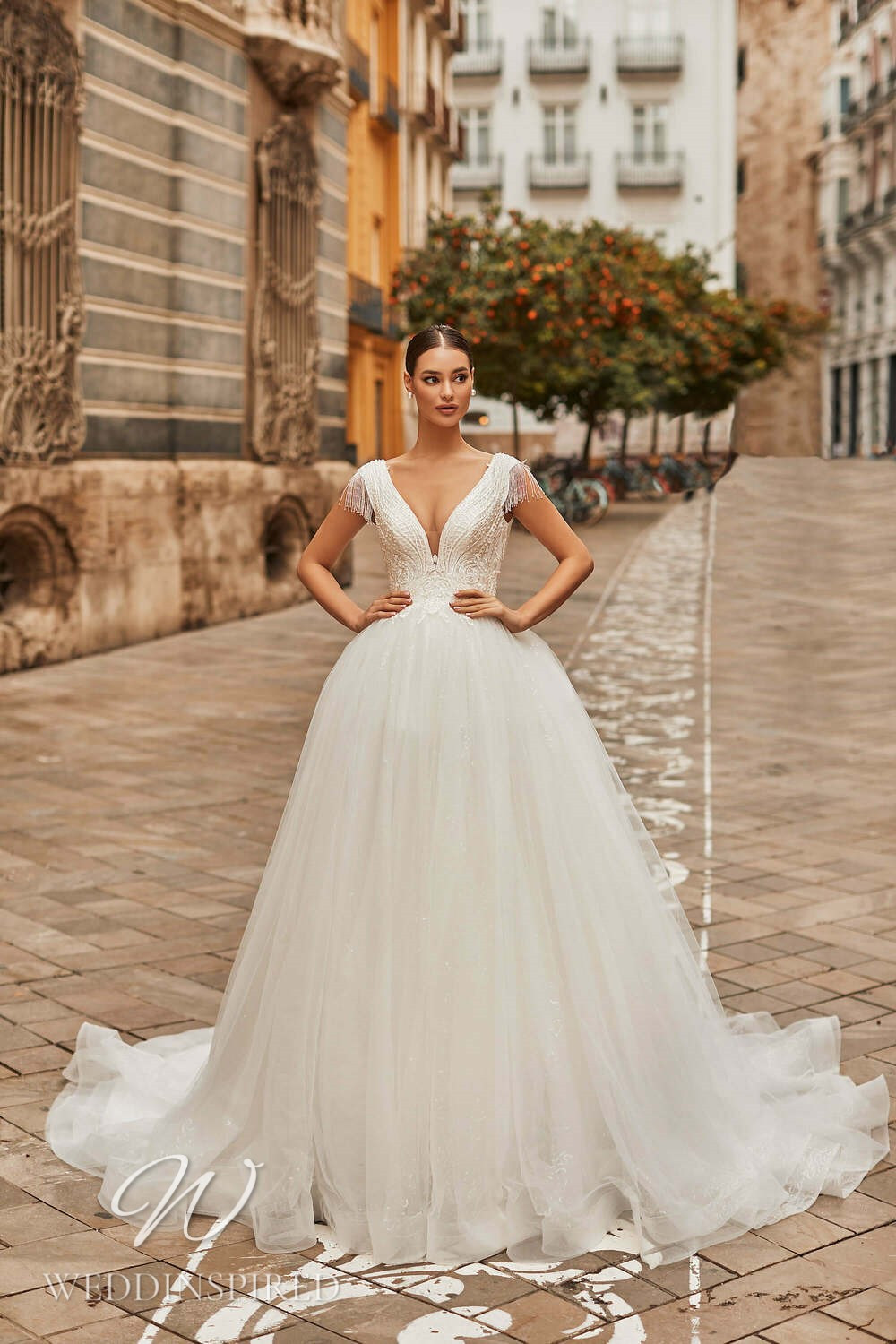 A Royal by Naviblue 2021 tulle princess wedding dress with cap sleeves