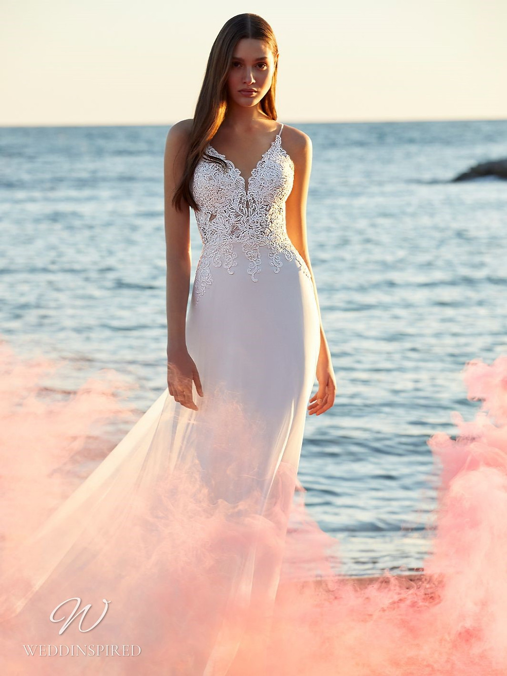 A Blue by Enzoani 2021 lace and crepe mermaid wedding dress with straps