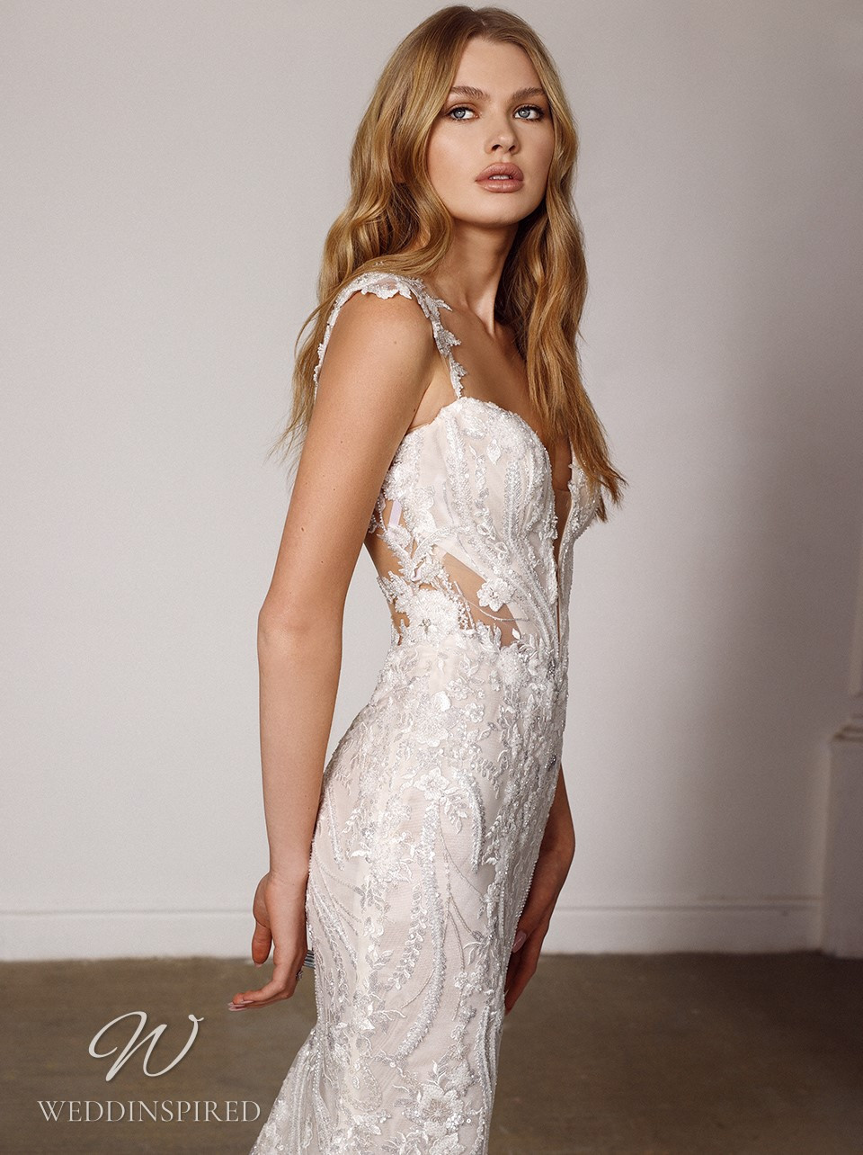 A Galia Lahav 2022 lace and tulle mermaid wedding dress with straps
