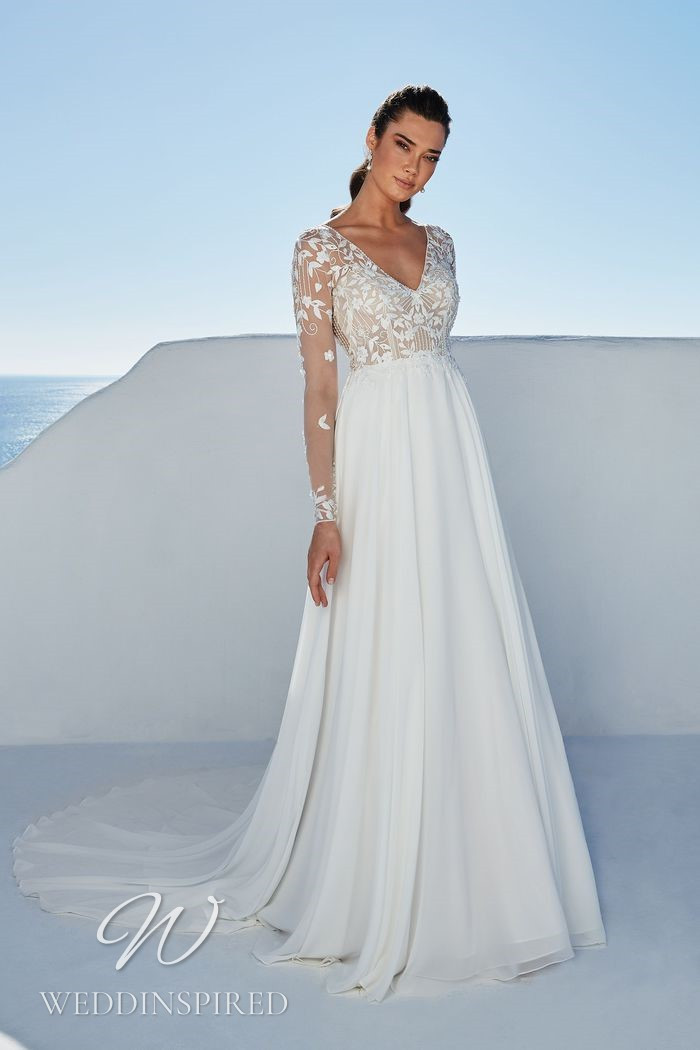 A Justin Alexander 2021 lace and chiffon A-line wedding dress with long sleeves