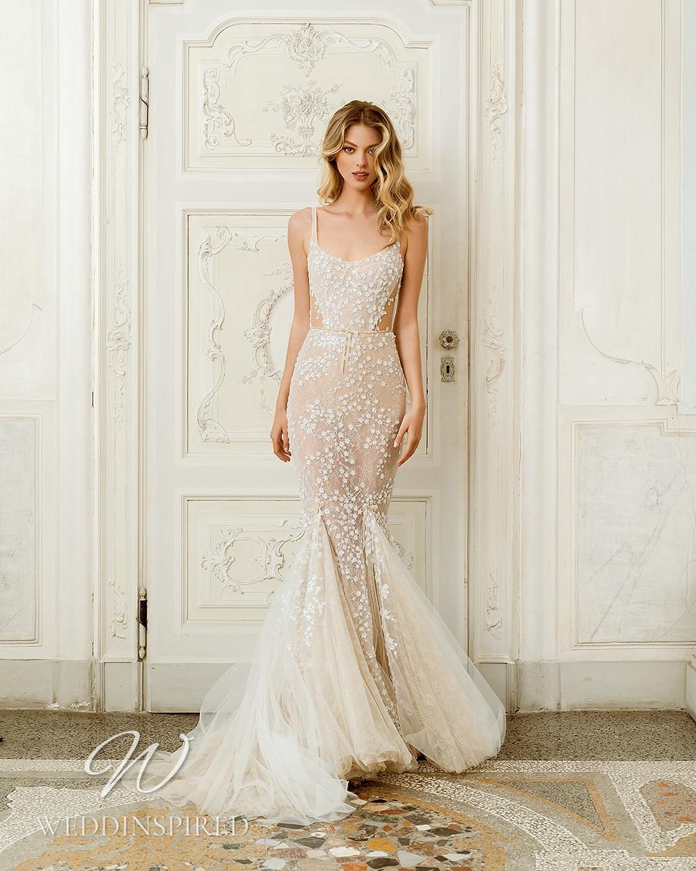 A Berta 2022 blush lace mermaid wedding dress