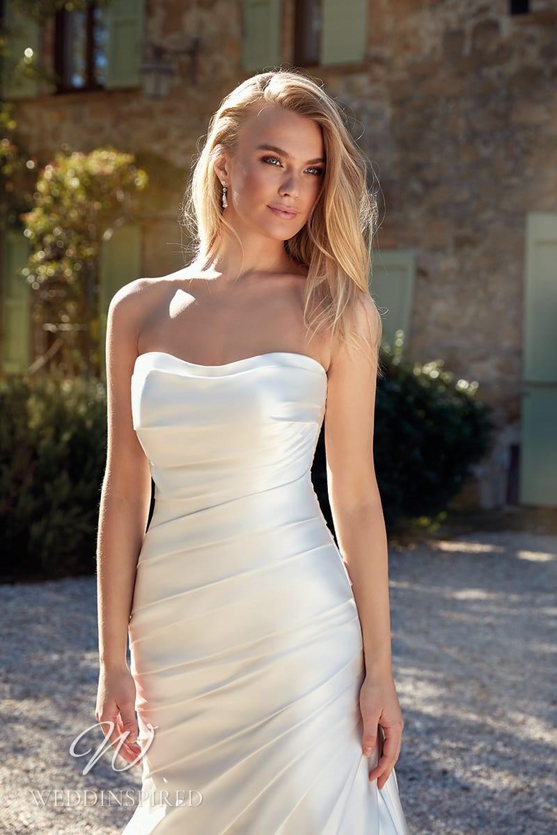 An Eddy K 2021 simple strapless satin mermaid wedding dress