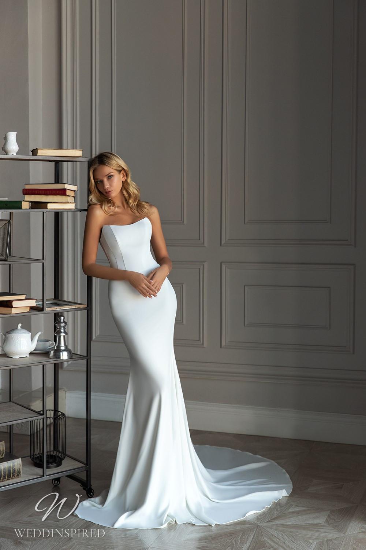 An Eva Lendel 2021 simple strapless silk mermaid wedding dress