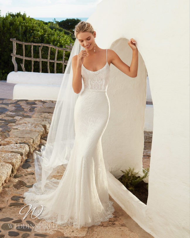 An Aire Barcelona 2021 lace mermaid wedding dress with straps