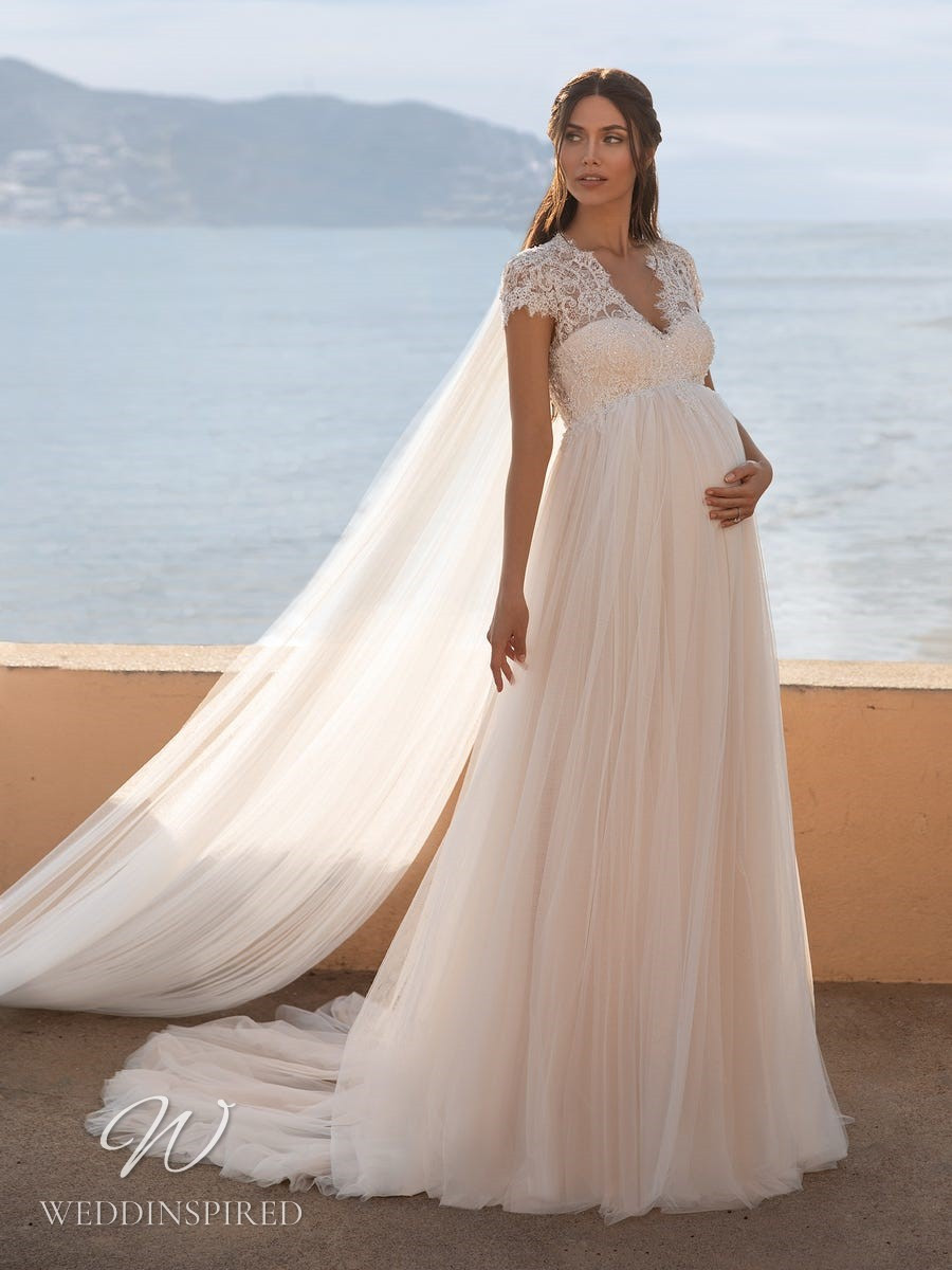 A Pronovias 2021 blush lace and tulle maternity A-line wedding dress