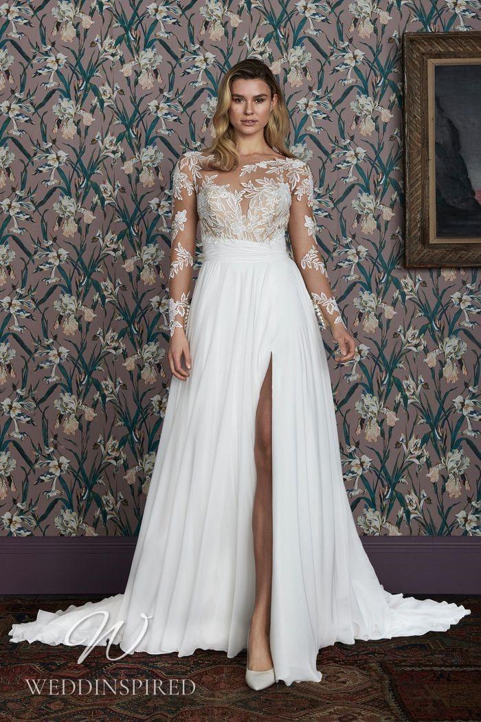 A Justin Alexander 2021 lace and chiffon A-line wedding dress