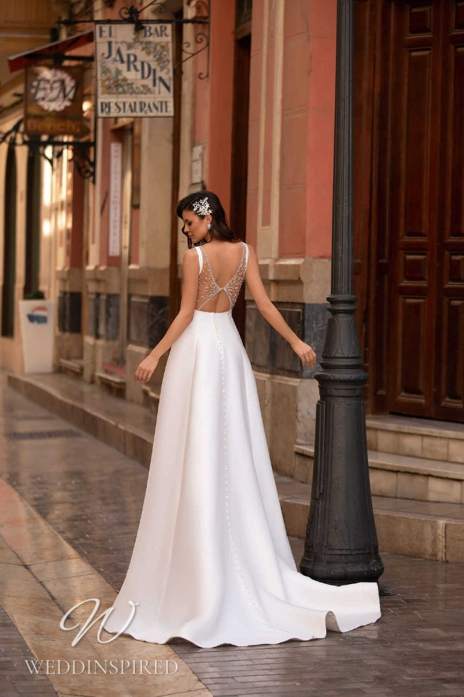 A Nora Naviano 2021 backless satin A-line wedding dress