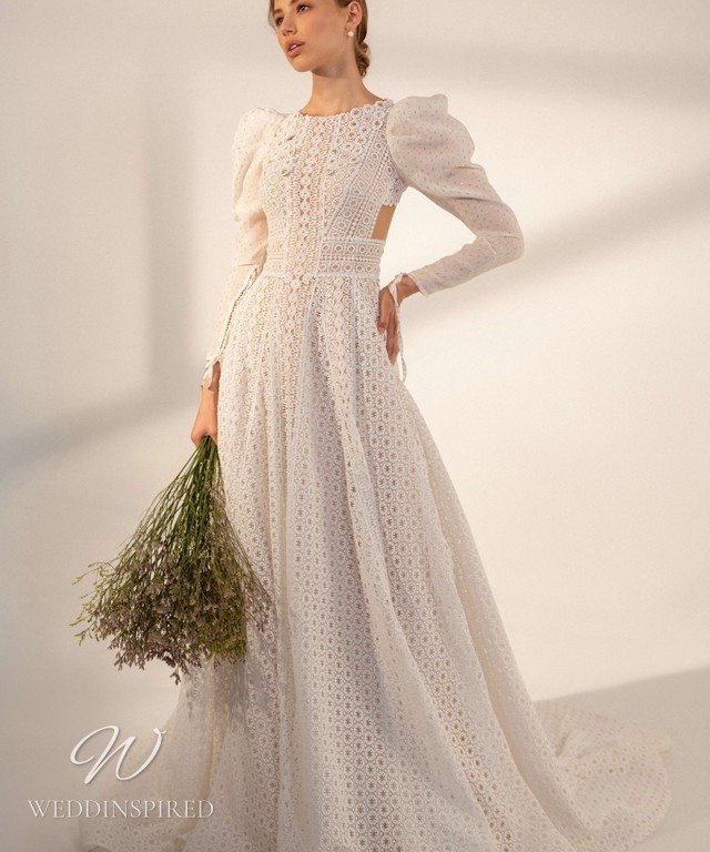 A Rara Avis 2021 simple vintage lace A-line wedding dress with long puff sleeves and a high neck